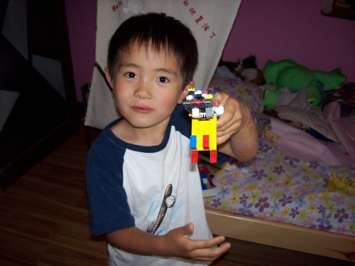 Nathan with one of his many LEGO creations
