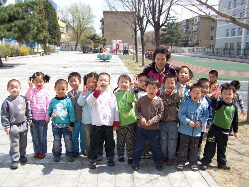 Nathan (in the brown shirt) with his class