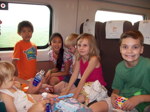 On the train to the beach